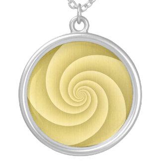Espiral de cinco brazos en textura cepillada oro d colgante redondo