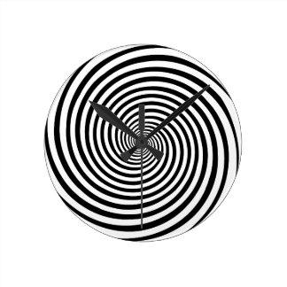 Espiral de doblez de la hipnosis del tiempo reloj redondo mediano