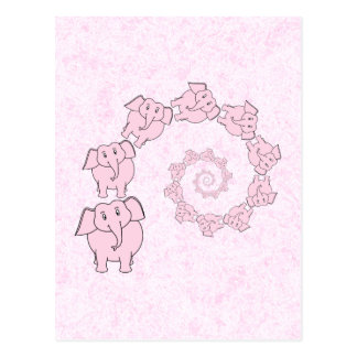 Espiral de elefantes rosados. Fondo rosado Postales