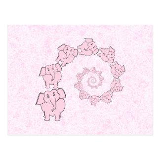 Espiral de elefantes rosados Fondo rosado Tarjetas Postales