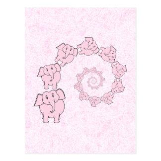 Espiral de elefantes rosados Fondo rosado Tarjeta Postal