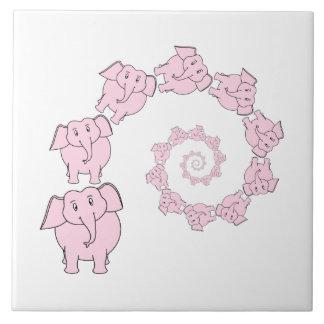Espiral de elefantes rosados. Historieta de la div Azulejos Ceramicos