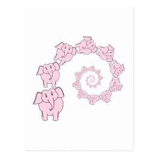 Espiral de elefantes rosados Historieta de la div Postal