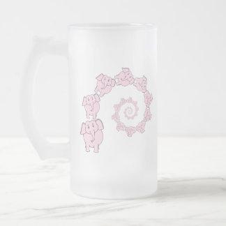 Espiral de elefantes rosados. Historieta de la div Taza Cristal Mate