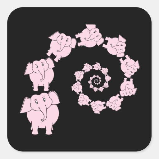 Espiral de elefantes rosados. Historieta Pegatina Cuadradas Personalizada