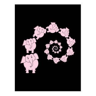 Espiral de elefantes rosados Historieta Postal