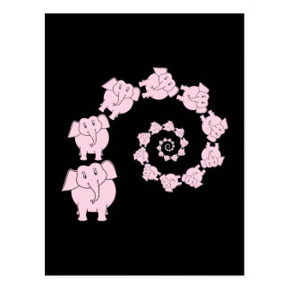 Espiral de elefantes rosados. Historieta Tarjetas Postales