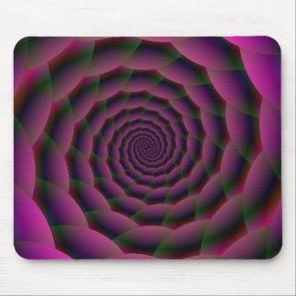 Espiral de la cuerda en rojo y verde púrpuras tapetes de ratones