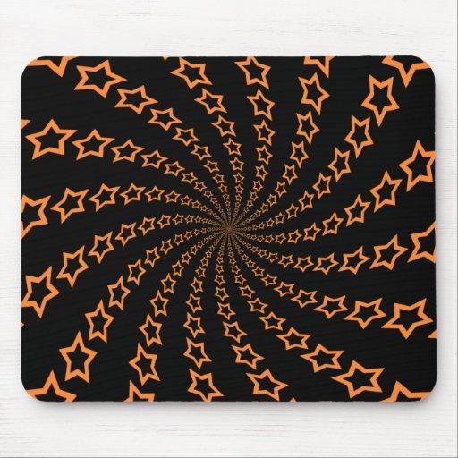 Espiral de la estrella: Naranja y negro: Mousepad