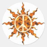 Espiral de la llama de la paz pegatinas redondas