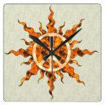 Espiral de la llama de la paz reloj de pared