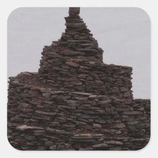Espiral de la roca pegatina cuadrada