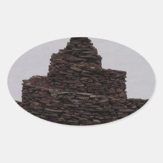 Espiral de la roca pegatina ovalada