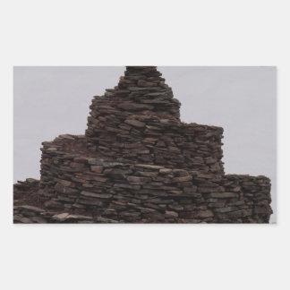 Espiral de la roca pegatina rectangular