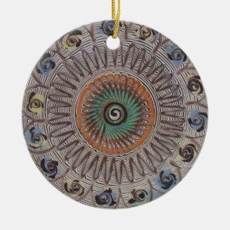 Espiral de la vida adorno navideño redondo de cerámica
