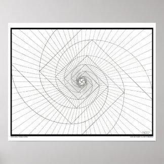Espiral de levantamiento de Deosil Fibonacci Póster