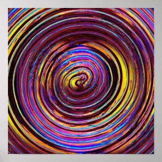 Espiral de neón del vidrio del Lit Póster