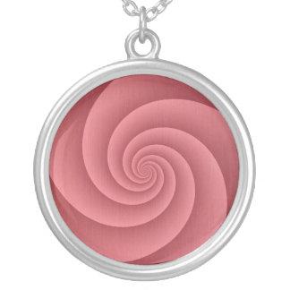 Espiral de PinkCoral FiveArms en textura cepillada Colgante Redondo