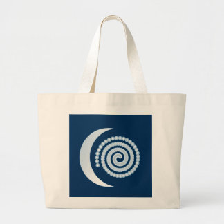 Espiral de plata de la luna en azul marino bolsa tela grande