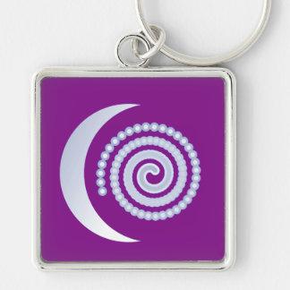 Espiral de plata de la luna en púrpura llaveros