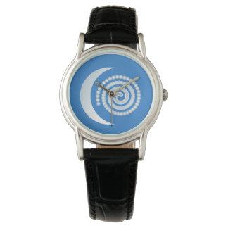 Espiral de plata de la luna reloj de mano