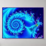 Espiral de seda azul impresiones