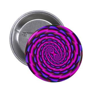 Espiral de Snakeskin en botón azul y rosado Pin Redondo De 2 Pulgadas