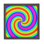 Espiral del arco iris caja de recuerdo de calidad