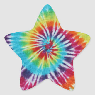 Espiral del arco iris pegatina en forma de estrella