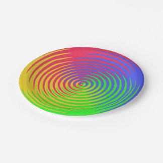 Espiral del arco iris placa de papel de 7 pulgadas plato de papel de 7 pulgadas