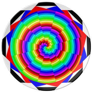 Espiral del arco iris plato de cerámica