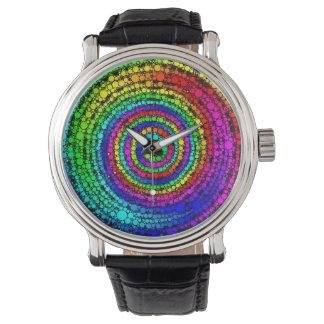 Espiral del arco iris relojes de pulsera