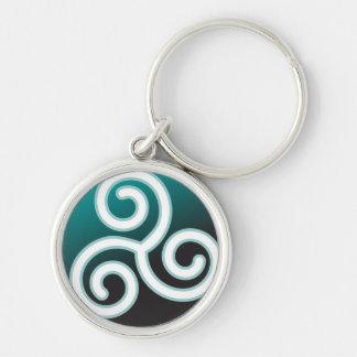 Espiral del Celtic de Triskele Llavero Redondo Plateado