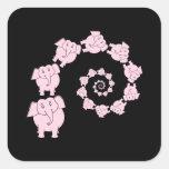 Espiral del elefante rosado pegatina cuadradas personalizadas