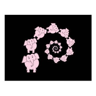 Espiral del elefante rosado tarjeta postal