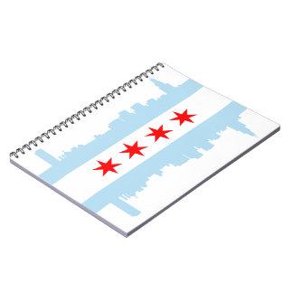 Espiral del horizonte de la bandera de Chicago - c Spiral Notebooks