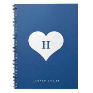 Espiral del monograma el | del corazón - cuaderno