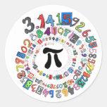 Espiral del pi etiqueta redonda