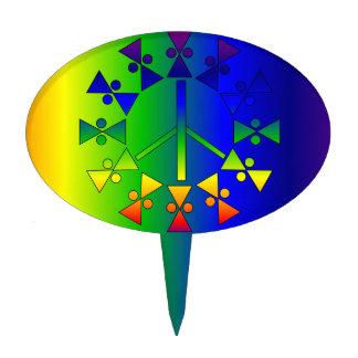 Espiral del signo de la paz del arco iris decoración para tarta