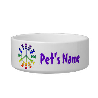 Espiral del signo de la paz del arco iris comedero para mascota
