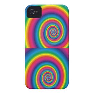 Espiral doble del arco iris Case-Mate iPhone 4 cárcasas