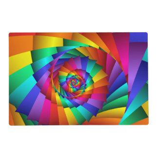 Espiral doble Placemat del arco iris Tapete Individual