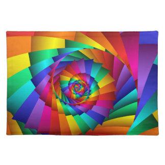 Espiral doble Placemats del arco iris Manteles Individuales