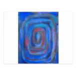 Espiral en colores pastel azul rectangular postal