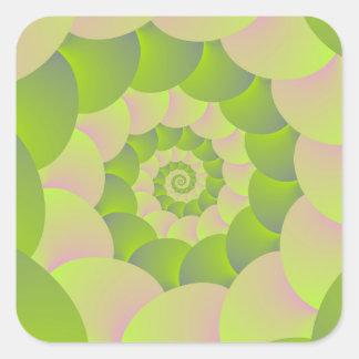 Espiral en rosa y verdes pegatina cuadrada