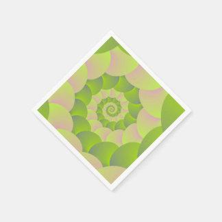 Espiral en rosa y verdes servilleta desechable