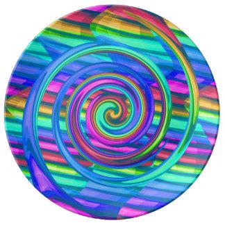 Espiral estupendo del arco iris de la turquesa con plato de cerámica