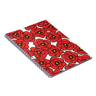 Espiral floral de las amapolas rojas modernas - libreta espiral