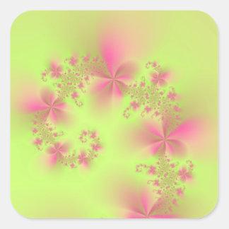 Espiral floral del verde y del rosa pegatina cuadrada