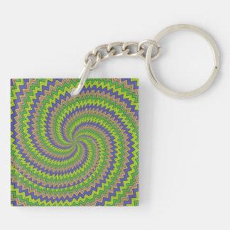 Espiral hipnótico púrpura verde llaveros